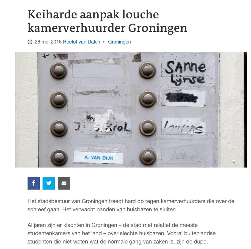 Keiharde aanpak louche kamerverhuurder Groningen